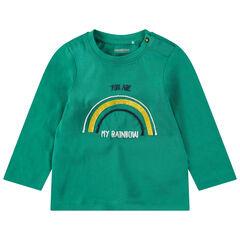 Camiseta de manga larga de punto con arcoíris y mensaje en la espalda