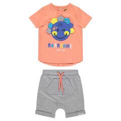 Conjunto con camiseta con parche ©Smiley y bermuda con bolsillos