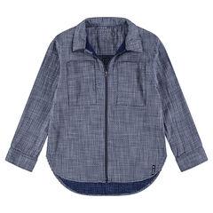 Camisa de manga larga de algodón con abertura con cremallera