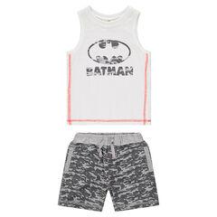 Conjunto de playa con camiseta sin mangas con estampado de Batman y bermudas de estilo militar