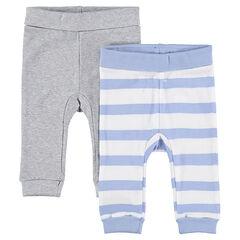 Juego de 2 pantalones de punto gris jaspeado/rayas