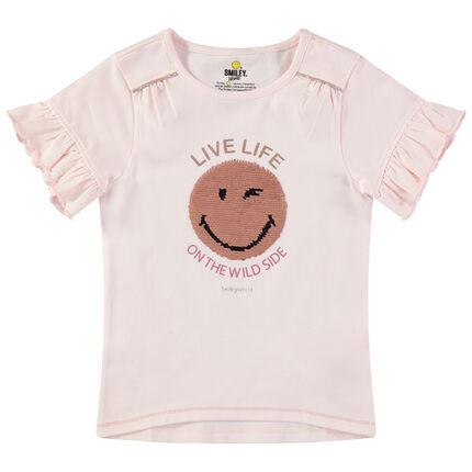 Camiseta de manga corta con volantes y Smiley de lentejuelas mágicas