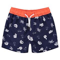 Pantalón corto de baño con símbolos all over