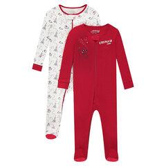 Pack de 2 pijamas de punto con cremallera y dibujos estampados de fantasía