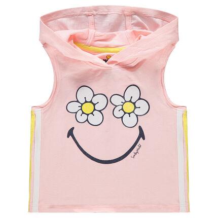 Camiseta con capucha y flores con ©Smiley estampados