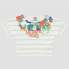 Camiseta manga corta con rayas con estampado de flor