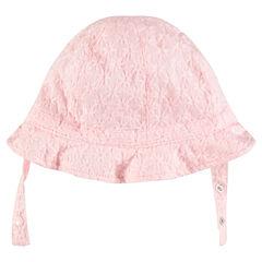 Sombrero tipo charlotte con flores bordadas del mismo color