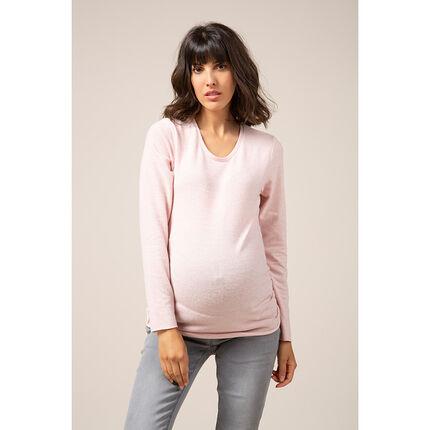 Jersey premamá de punto fino de color rosa palo