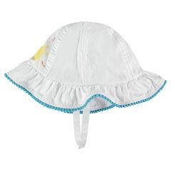 Sombrero de tela de algodón con estampado y galón con pompones