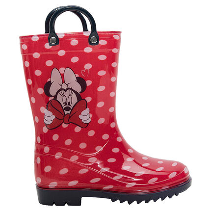 Botas de agua de goma con lunares all-over y estampado Minnie, del 28 al 32