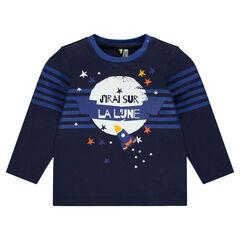 Camiseta de manga larga con estampado de cohete y estrellas