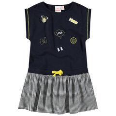 Vestidop de manga corta con efecto 2 en 1 de rayas y bordados Minnie ©Disney