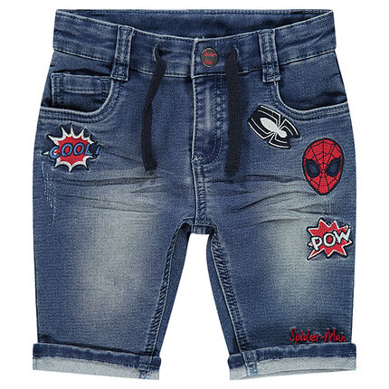 Bermudas con efecto desgastado y parches bordados ©Marvel Spiderman