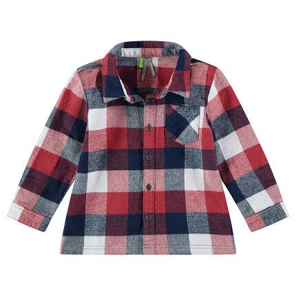 Camisa de manga larga de franela de cuadros que contrastan