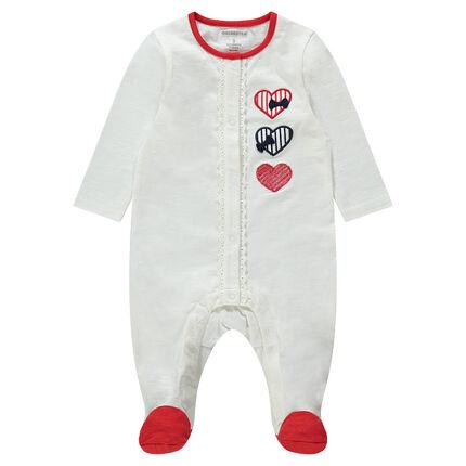 Pijama de punto con corazones y toques rojos