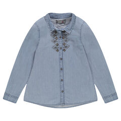 Junior - Chemise en jeans avec perles fantaisie