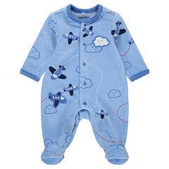Pijama de terciopelo con aviones bordados y estampados all over