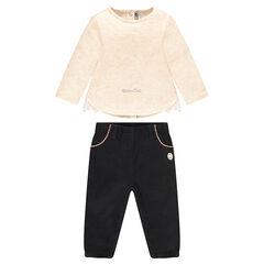 Conjunto de camiseta con bordado de lechuza y pantalón de algodón