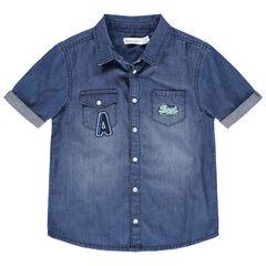 Camisa de manga corta de punto con efecto desgastado con bolsillos y bordados