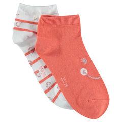 Juego de 2 pares de calcetines variados lisos/de rayas ©Smiley