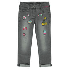 Junior - Jeans 7/8ème fitté à badges fantaisie