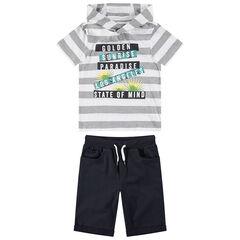 Júnior - Conjunto de playa con camiseta con capucha y bermudas lisas