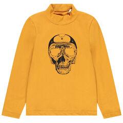 Suéter de cuello camisero  de algodón bio estampado fantasía