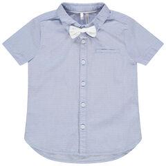 Chemise manches courtes à micro points en jacquard et noeud papillon amovible