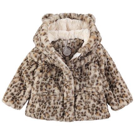 Abrigo de pelo sintético de leopardo con orejas en la capucha
