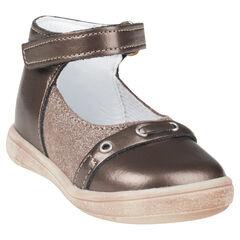 Zapatos merceditas de cuero cinta con velcro con purpurina