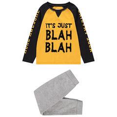 Pijama de punto bicolor con mensaje estampado