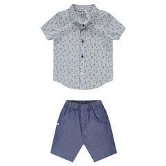 Conjunto de camisa de manga corta y pantalón de cambray