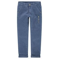 Pantalón teñido azul claro con bolsillo con cremallera