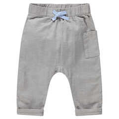 Pantalón de algodón con cintura elástica y bolsillo tipo parche