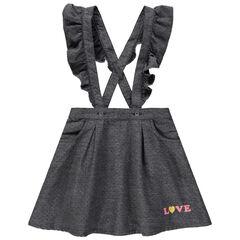 Falda con tirantes con volantes de algodón de realce