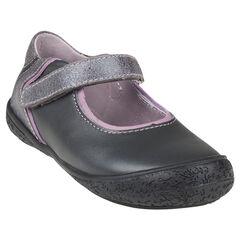 Zapatos merceditas con velcro de cuero de color gris