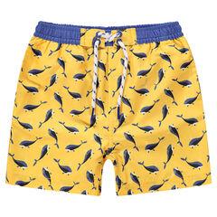 Pantalón corto de baño con ballenas estampadas all over