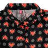 Camisa de manga larga acampanada con corazones y rayas all-over