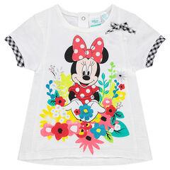Camiseta de manga corta lisa Disney con Minnie y estampado de flores