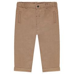 Pantalón de lino y algodón liso
