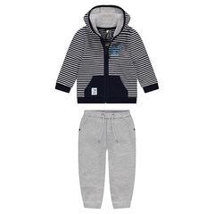 Chándal de felpa con chaqueta de rayas y pantalón gris jaspeado