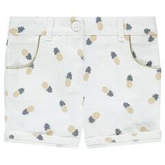 Pantalón corto trenzado de algodón con piñas estampadas all over