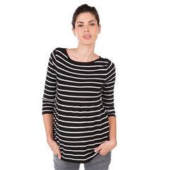 Jersey para el embarazo con rayas con manga en contraste