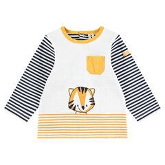 Camiseta de punto de manga larga con rayas y tigre estampado