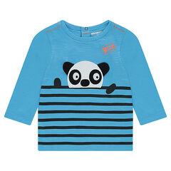 Camiseta de manga larga de punto con rayas intercaladas y panda en relieve