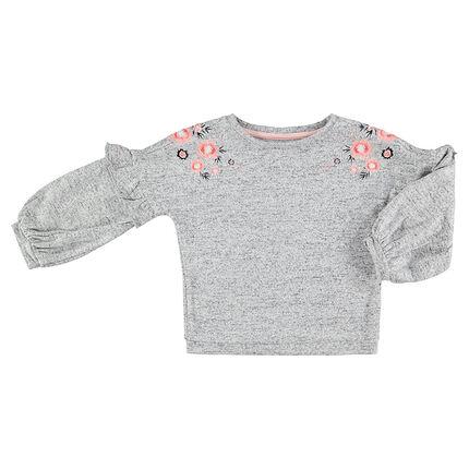 Jersey de felpa asargada con flores bordadas en los hombros