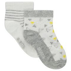 Juego de 2 pares de calcetines variados con dibujos y rayas