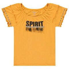 Júnior - Camiseta de manga corta de viscosa con pompones