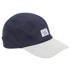 Gorra bicolor de sarga con etiqueta de tela
