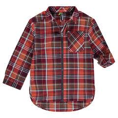 Camisa de manga larga de cuadros con cierre de cremallera